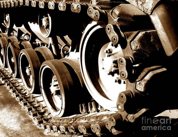 Patton Print featuring the photograph Tank Tracks by Olivier Le Queinec