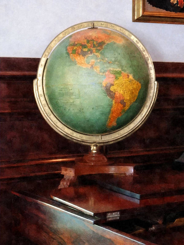 Globe Print featuring the photograph Teacher - Globe On Piano by Susan Savad