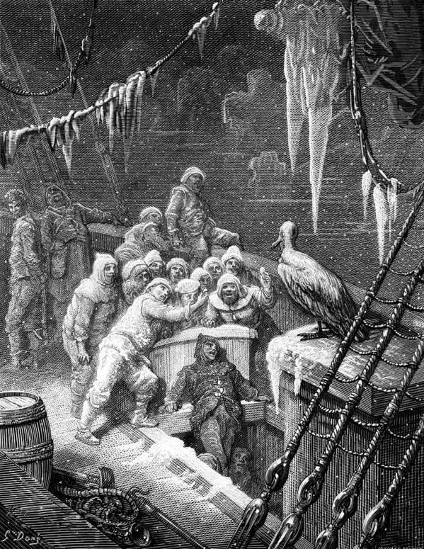 Antartic; Ice; Icebergs; Freezing; Sea; Bird; Dore Print featuring the drawing The Albatross Being Fed By The Sailors On The The Ship Marooned In The Frozen Seas Of Antartica by Gustave Dore