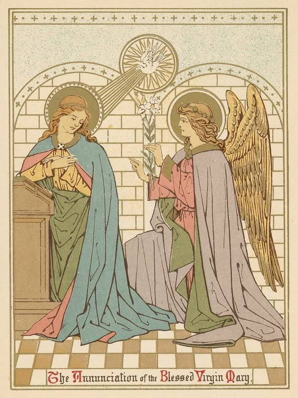 Saint Print featuring the painting The Annunciation Of The Blessed Virgin Mary by English School