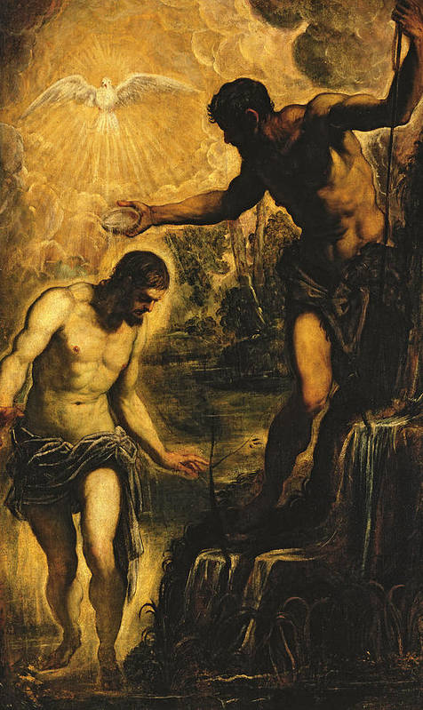 John The Baptist Print featuring the painting The Baptism Of Christ by Jacopo Robusti Tintoretto