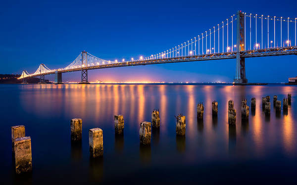Bay Bridge Print featuring the photograph The Bay Lights by Alexis Birkill
