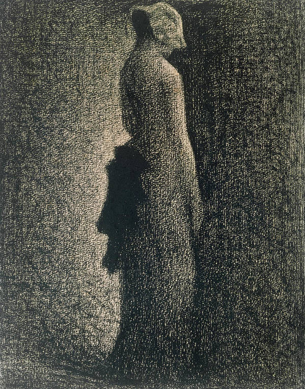 Ribbon Print featuring the drawing The Black Bow by Georges Pierre Seurat