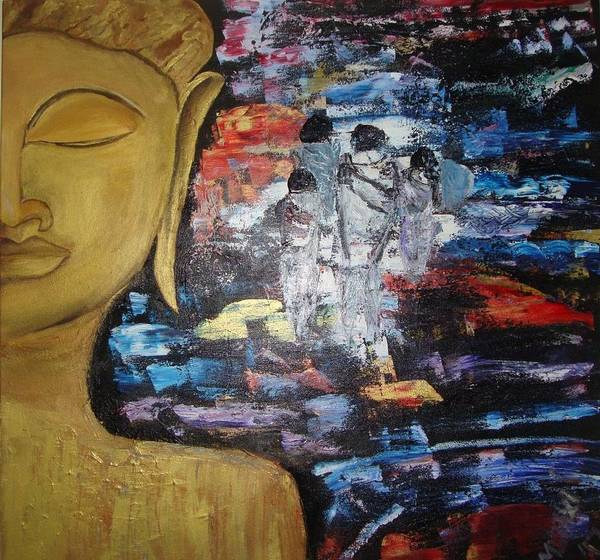 Buddha Print featuring the painting The Buddha Way by Meenakshi Chatterjee