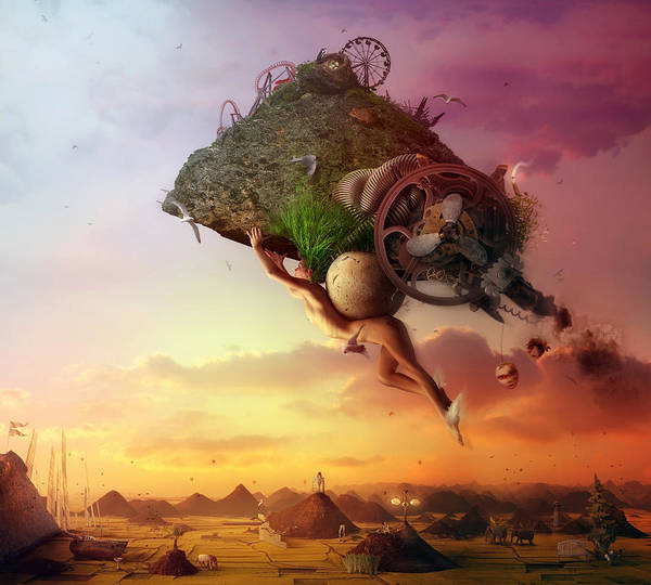 Flying Print featuring the digital art The Carnival Is Over by Mario Sanchez Nevado