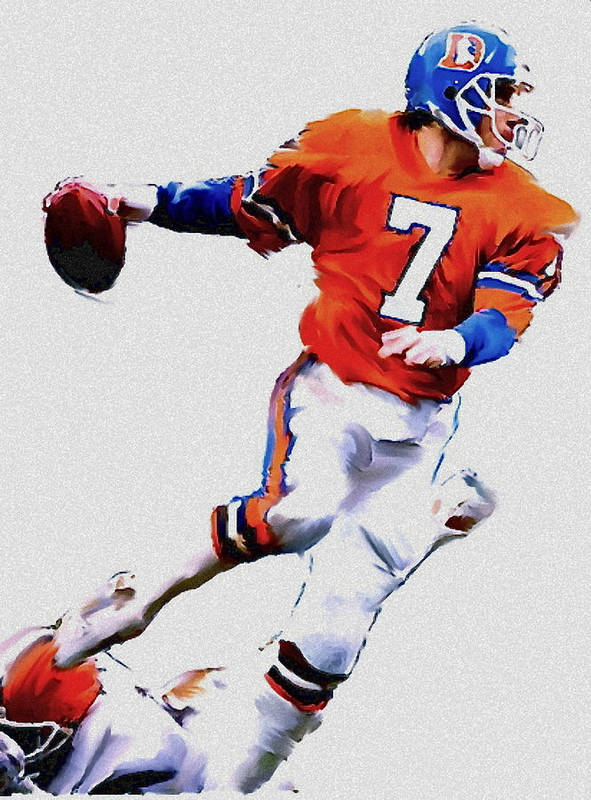 John Elway Print featuring the painting The Drive John Elway by Iconic Images Art Gallery David Pucciarelli