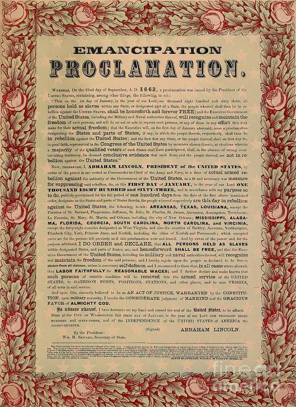 Civil War; Liberation; Freedom; Document; Proclamation Print featuring the drawing The Emancipation Proclamation by American School