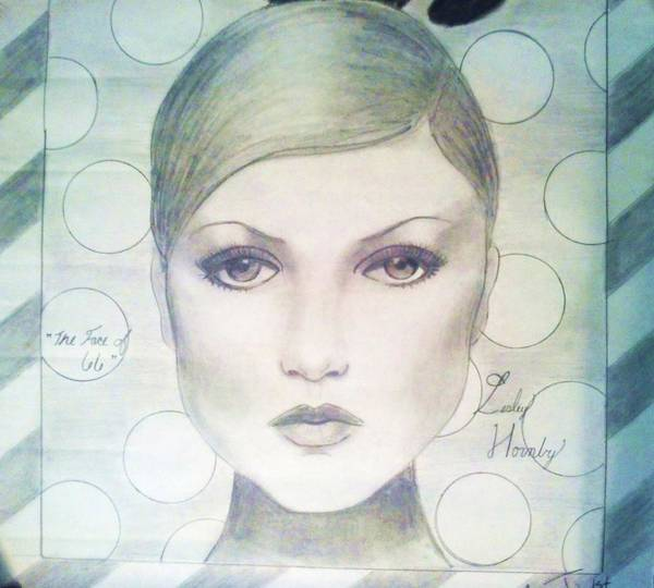 Twiggy Print featuring the drawing The Face Of 66' by Megan Jenkins