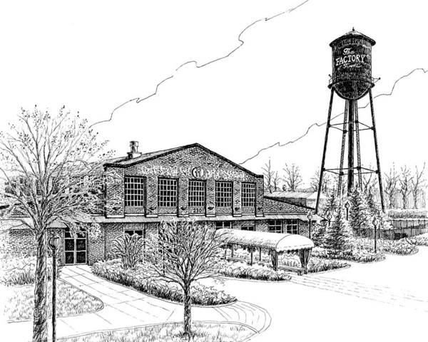 Pen And Ink Drawing Print featuring the drawing The Factory In Franklin Tennessee by Janet King