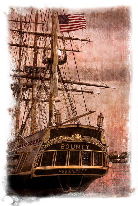 American Print featuring the photograph The Gleaming Hull Of The Hms Bounty by Debra and Dave Vanderlaan