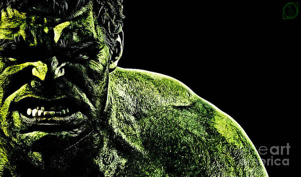 The Incredible Hulk Print featuring the digital art The Incredible by The DigArtisT