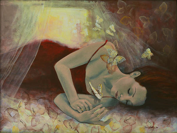 Butterflies Print featuring the painting The Last Dream Before Dawn by Dorina Costras