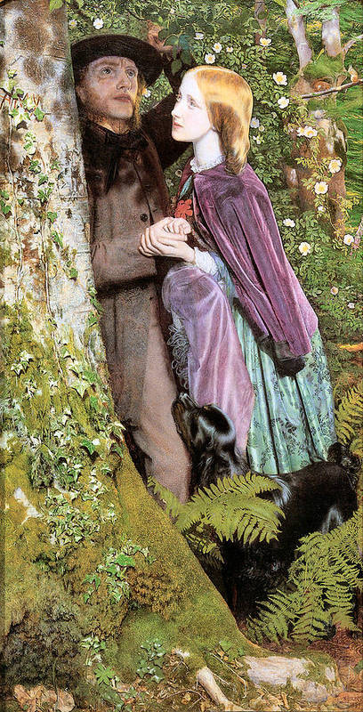 Arthur Hughes Print featuring the digital art The Long Engagement by Arthur Hughes