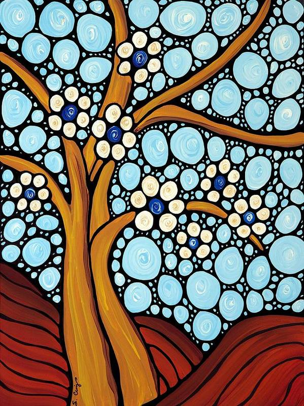 Flower Print featuring the painting The Loving Tree by Sharon Cummings