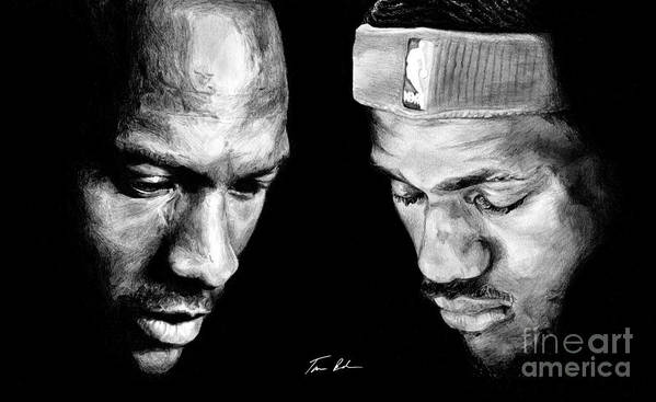 Lebron James Print featuring the drawing The Next One by Tamir Barkan