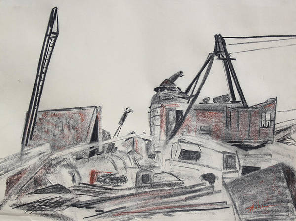 Charcoal Drawing Print featuring the drawing The Old Berkeley Marina Junk Heap On A Foggy Day by Asha Carolyn Young