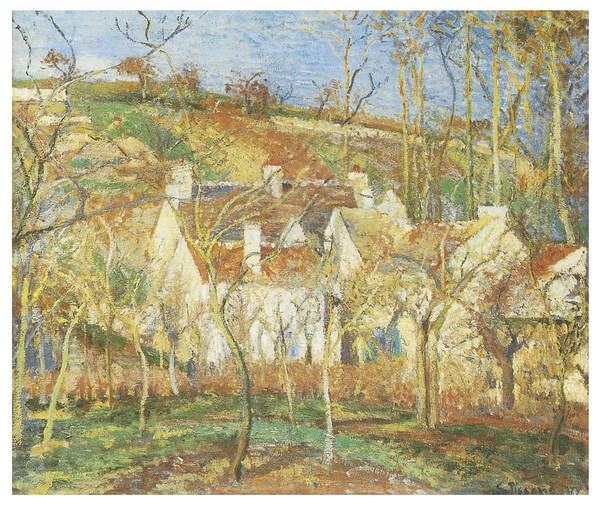 Camille Pissarro Print featuring the painting The Red Roofs Corner Of A Village Winter by Camille Pissarro