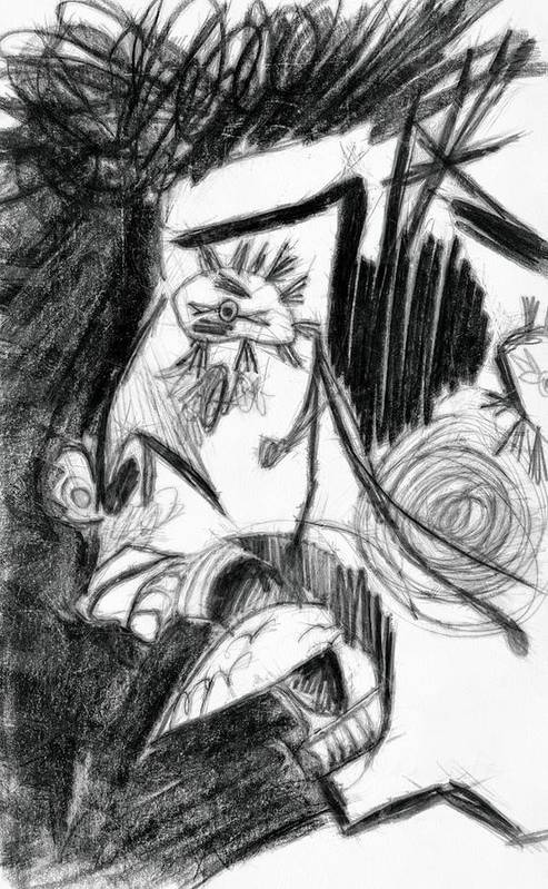 Drawing Print featuring the drawing The Scream - Picasso Study by Michelle Calkins