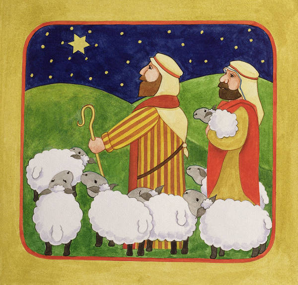Shepherd; Sheep; Staff; Star Of Bethlehem; David; Night; Starry; Flock; Christmas Print featuring the painting The Shepherds by Linda Benton