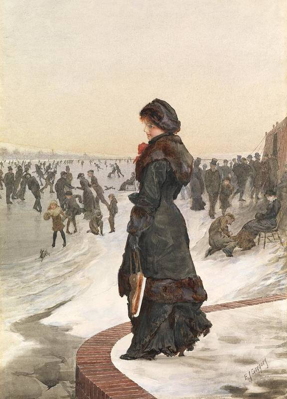 Female Print featuring the painting The Skater by Edward John Gregory