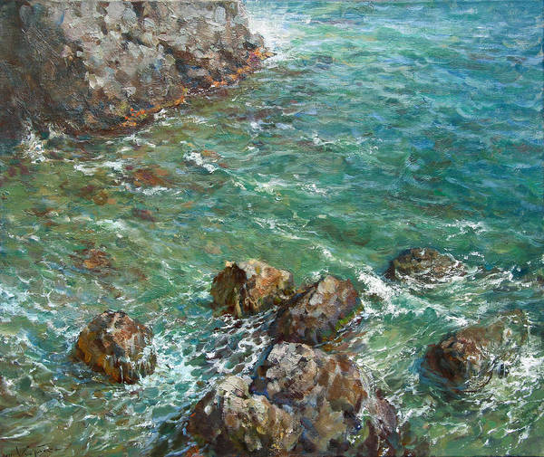 Landscape Print featuring the painting The Surf by Korobkin Anatoly
