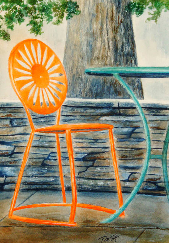 University Of Wisconsin Print featuring the painting The Terrace Chair by Thomas Kuchenbecker