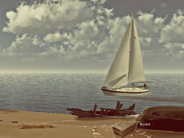 Sailboat Print featuring the digital art The Treasure by Julie Grace