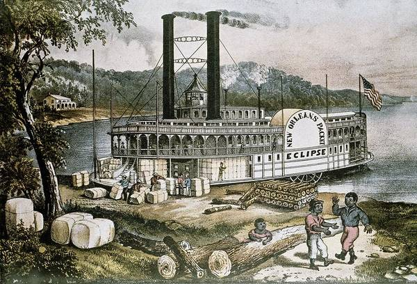 Horizontal Print featuring the photograph The United States 19th C..steamship by Everett
