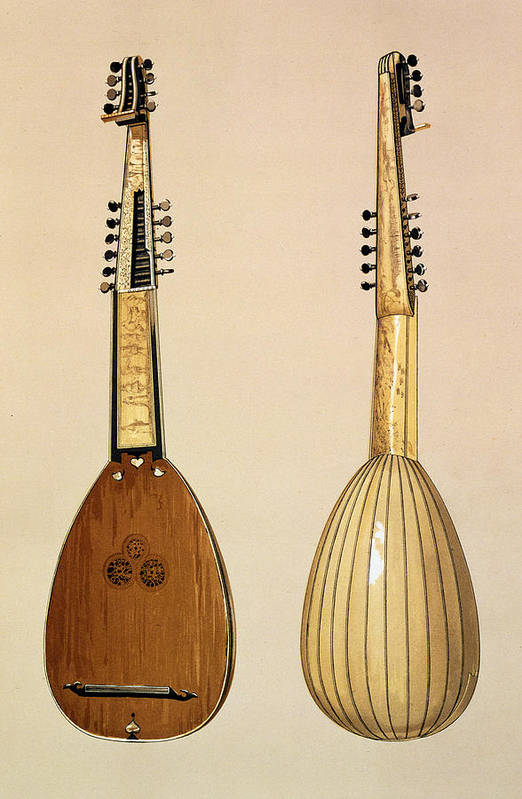 Front Print featuring the drawing Theorbo, Made By Giovanni Krebar by Alfred James Hipkins