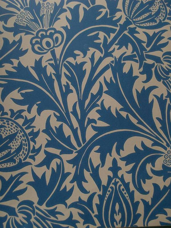 William Print featuring the tapestry - textile Thistle Design by William Morris