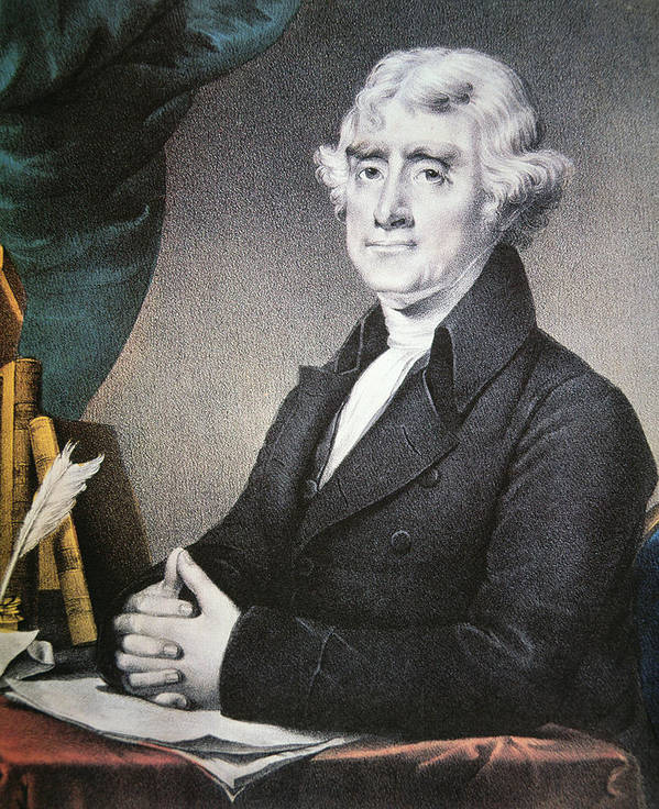 Thomas Jefferson Print featuring the painting Thomas Jefferson by Nathaniel Currier