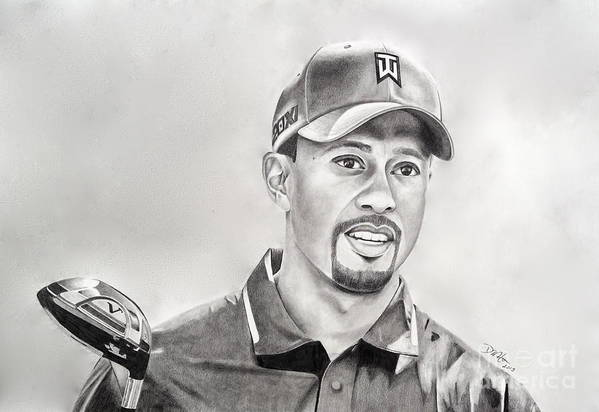 Tiger Woods Print featuring the drawing Tiger Club by Devin Millington