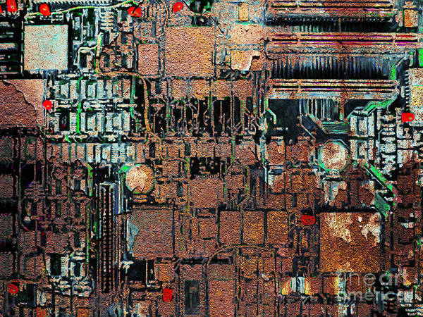 Punk Print featuring the photograph Time For A Motherboard Upgrade 20130716 by Wingsdomain Art and Photography