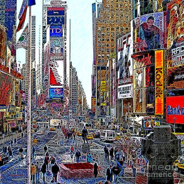 Time Square Print featuring the photograph Time Square New York 20130503v8 Square by Wingsdomain Art and Photography