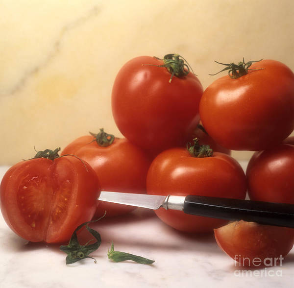 Cut Food Indoors Indoor Inside Knife Knives Nobody Nutrition Sharp Sliced Solanum Lycopersicum Print featuring the photograph Tomatoes And A Knife by Bernard Jaubert