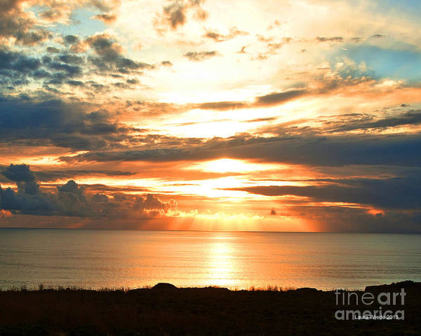 Beach Art Print featuring the photograph Tomorrow Is A New Day- Beach At Sunset by Artist and Photographer Laura Wrede