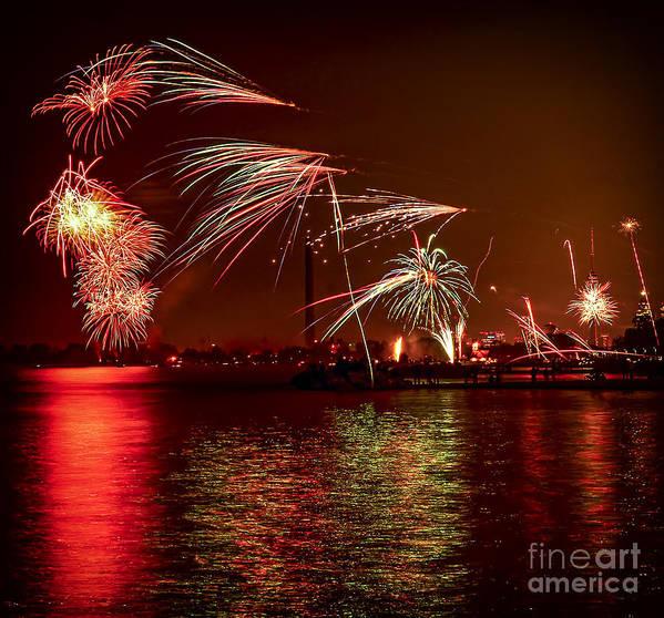 Toronto Print featuring the photograph Toronto Fireworks by Elena Elisseeva