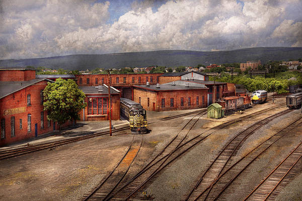 Train Print featuring the photograph Train - Entering The Train Yard by Mike Savad