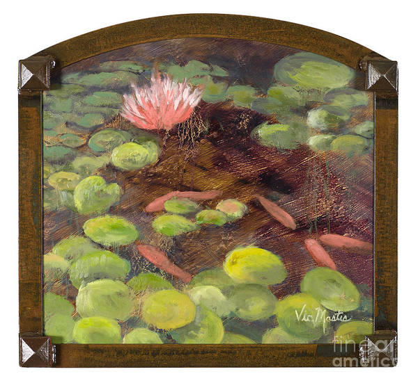 Lily Pad Print featuring the painting Tranquil Moments With Gold Leaf By Vic Mastis by Vic Mastis