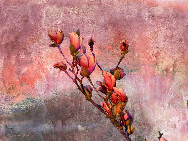 J Larry Walker Print featuring the digital art Tulip Tree Budding by J Larry Walker