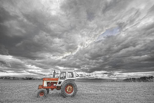 Farming Print featuring the photograph Turbo Tractor Superman Country Evening Skies by James BO Insogna