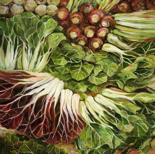 Swiss Chard Print featuring the painting Turnip And Chard Concerto by Jen Norton