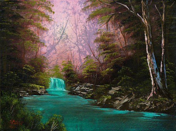 Landscape Print featuring the painting Turquoise Waterfall by C Steele
