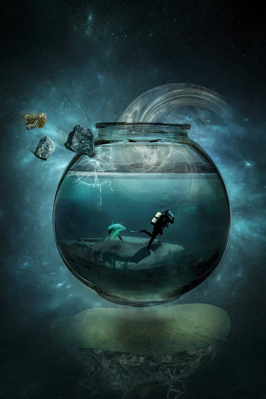 Surrealism Print featuring the photograph Two Lost Souls by Erik Brede