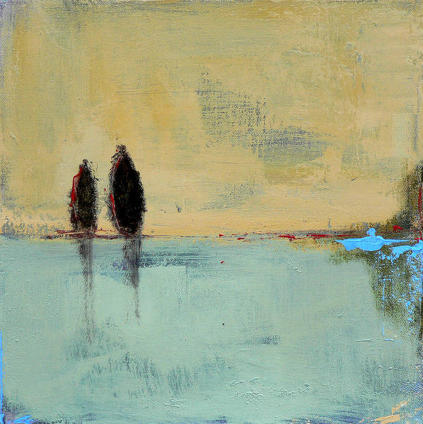 Abstract Landscape Print featuring the painting Two Lovers On The Line by Jacquie Gouveia