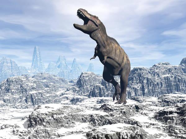 Three Dimensional Print featuring the digital art Tyrannosaurus Rex Dinosaur In A Snowy by Elena Duvernay
