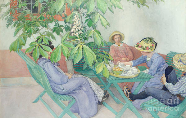 Women; Female; Group; Chatting; Tea; Drinking; Patio; Outdoors; Al Fresco; Biscuits; Straw Print featuring the painting Under The Chestnut Tree by Carl Larsson