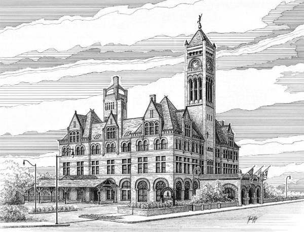 Union Station In Nashville Print featuring the drawing Union Station In Nashville Tn by Janet King