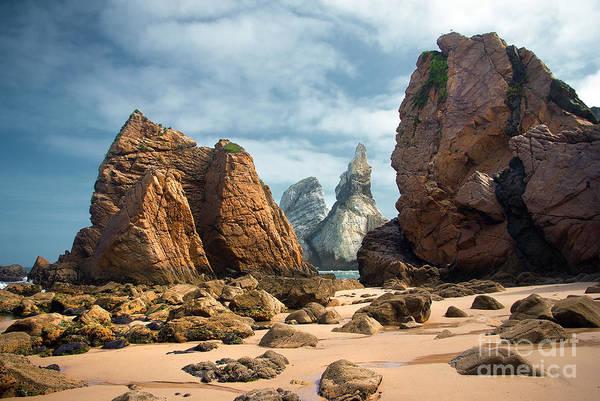 Abstract Print featuring the photograph Ursa Beach Rocks by Carlos Caetano
