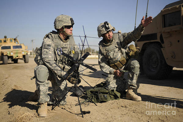 Iraq Print featuring the photograph U.s. Army Soldiers Setting by Stocktrek Images
